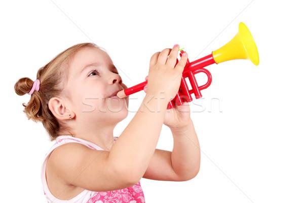 beauty little girl play trumpet Stock photo © goce