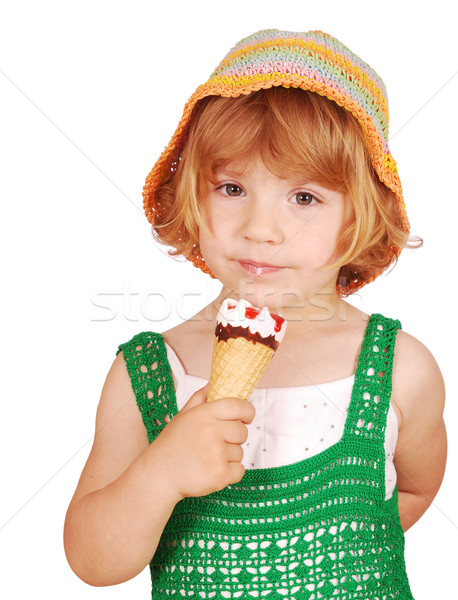 beauty little girl with ice cream Stock photo © goce