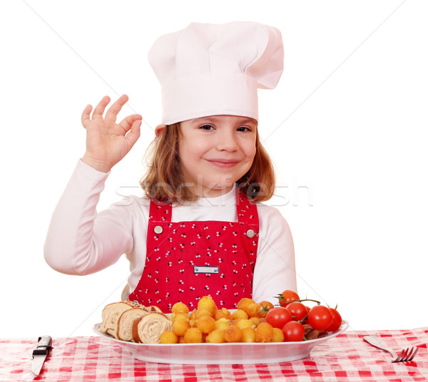 little girl cook with ok hand sign and gourmet food Stock photo © goce