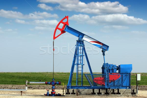 oil industry pump jack on oilfield Stock photo © goce