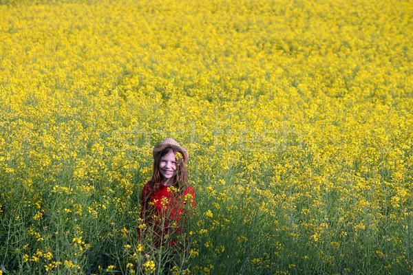 Boldog kislány citromsárga mező tavasz évszak Stock fotó © goce