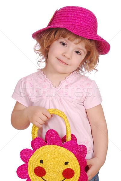 Dziewczynka hat worek uśmiech twarz szczęśliwy Zdjęcia stock © goce