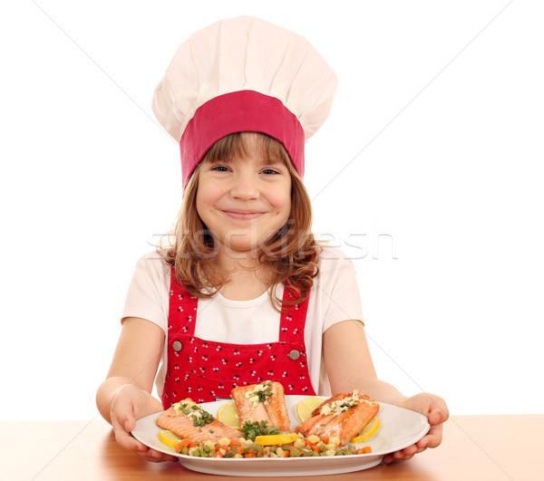 Foto stock: Feliz · nina · cocinar · salmón · mariscos · nina