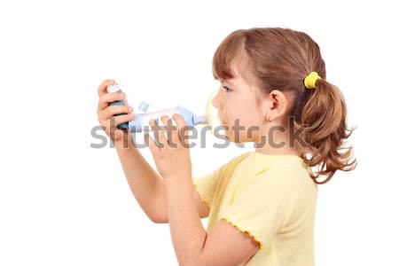 little girl with asthma inhaler Stock photo © goce