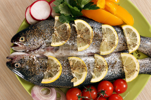 trout fish with salad on plate Stock photo © goce
