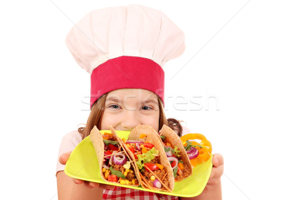 Little girl cook with tacos on plate Stock photo © goce