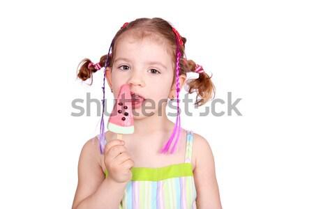 Stok fotoğraf: Küçük · kız · karpuz · dondurma · çocuk · güzellik · eğlence