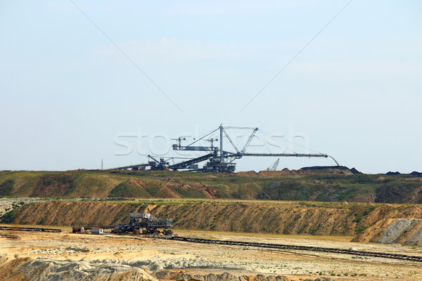 Giant excavator digging coal on open pit coal mine Kostolac Serb Stock photo © goce
