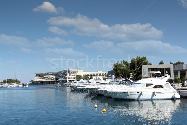 Kikötő hajók hajó szállítás luxus tengeri Stock fotó © goce