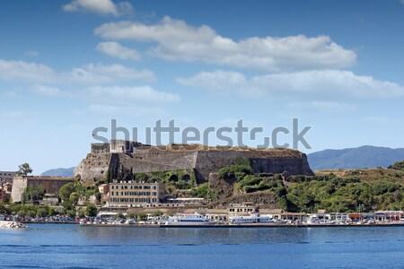 Nouvelle forteresse port ville Grèce ciel Photo stock © goce