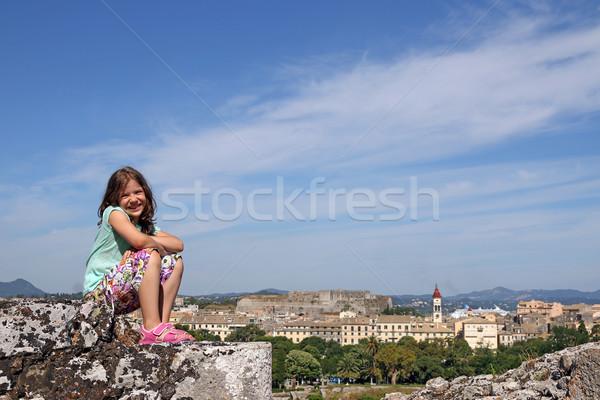 happy little girl Corfu town Greece Stock photo © goce