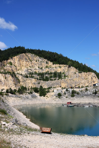 Pierre lac Serbie paysage Voyage Rock Photo stock © goce