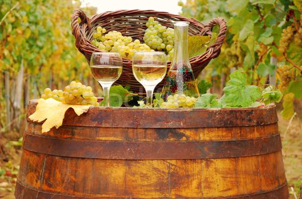 Fehérbor fából készült hordó őszi idény étel természet Stock fotó © goce