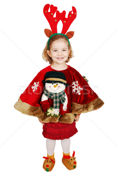 beautiful little girl with deer Rudolf horn on head ready for Christmas Stock photo © goce