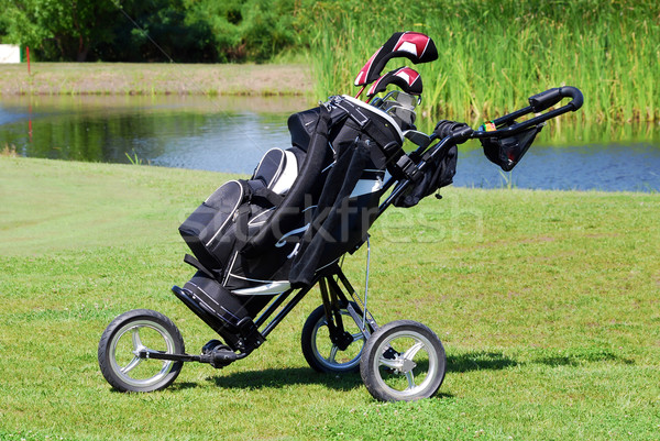 golf bag on field Stock photo © goce