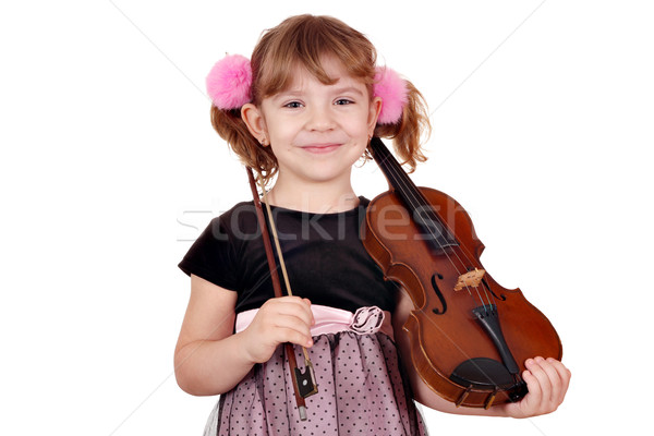 little girl posing with violin Stock photo © goce