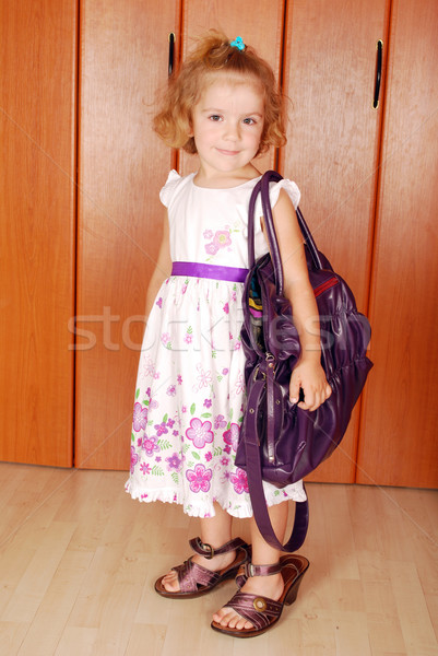 little girl with big bag and shoes  Stock photo © goce