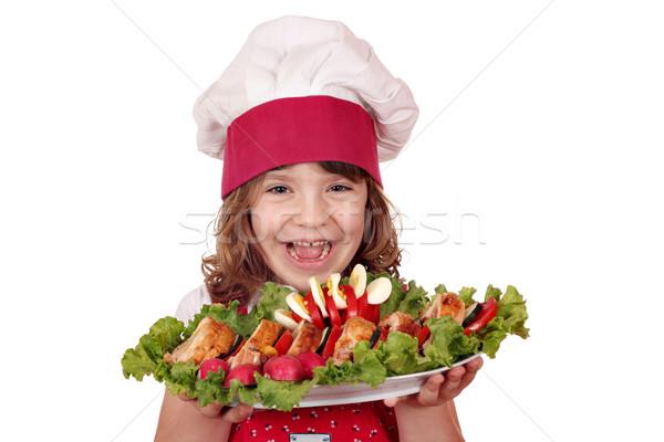 Mutlu küçük kız pişirmek gurme gıda çocuklar yumurta Stok fotoğraf © goce