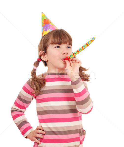 happy little girl with trumpet birthday party Stock photo © goce