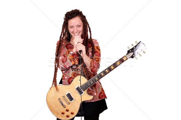 Meisje haren rock rollen zanger vrouw Stockfoto © goce