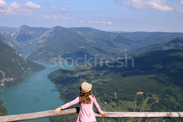 little girl enjoys the view from the viewpoint Tara mountain Ser Stock photo © goce