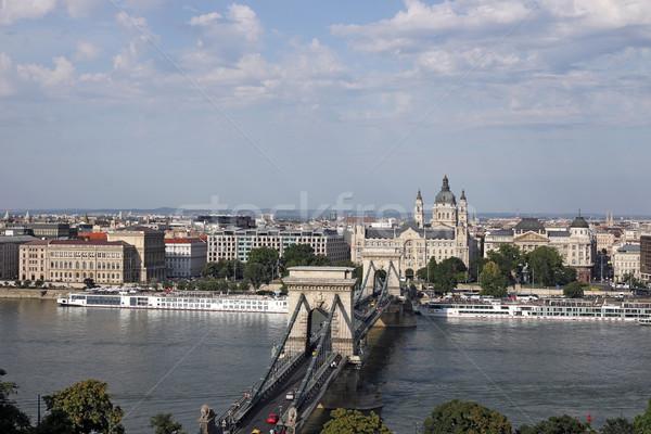 Keten brug donau rivier Boedapest stadsgezicht Stockfoto © goce