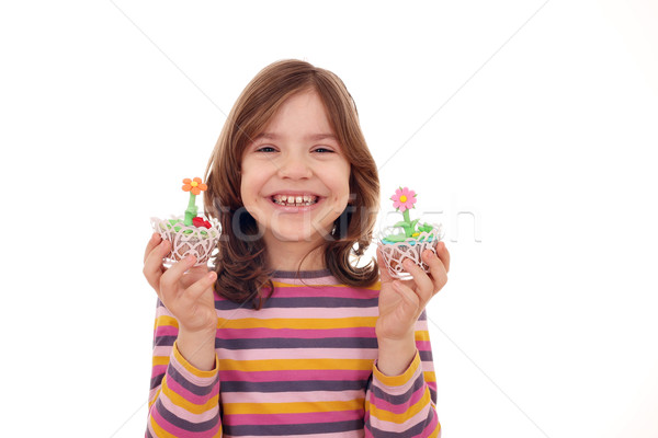happy little girl with sweet muffin Stock photo © goce