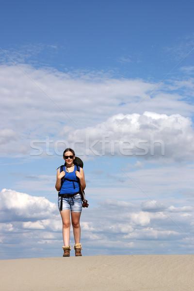 beautiful girl hiker walking in the desert Stock photo © goce