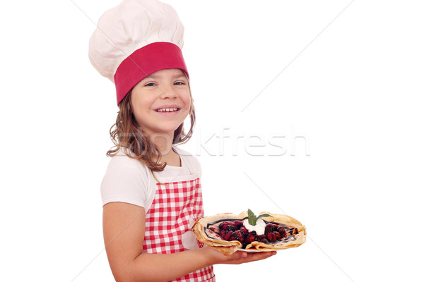 happy little girl cook with crepes dessert Stock photo © goce