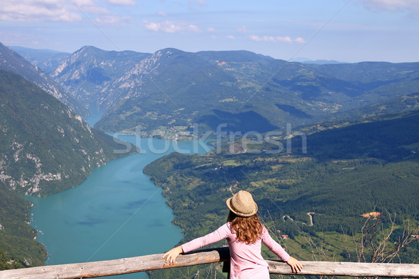 little girl enjoys the view from the viewpoint Tara mountain  Stock photo © goce