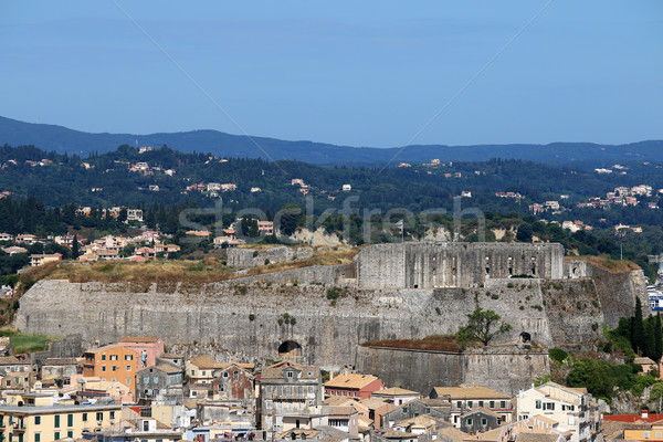 new fortress and old buildings Corfu town Greece Stock photo © goce