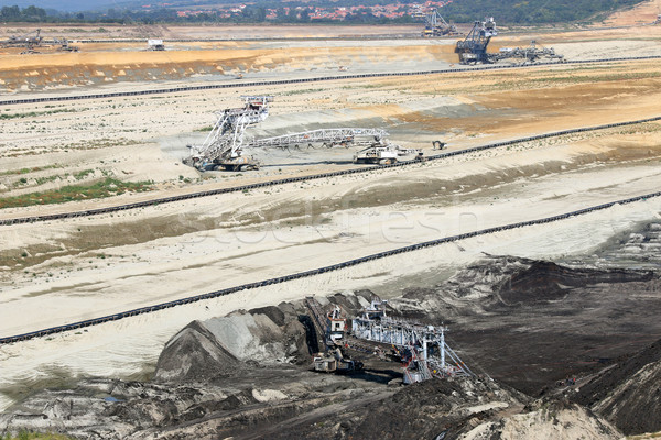 Open pit coal mine with excavators and heavy machinery Stock photo © goce