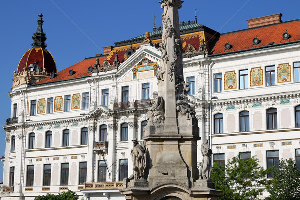 The Szechenyi square monument and building Pecs Hungary Stock photo © goce