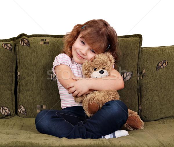Küçük kız oyuncak ayı gülümseme çocuk güzellik eğlence Stok fotoğraf © goce