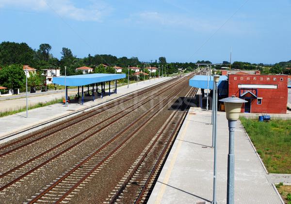Treinstation Griekenland weg gebouw zomer trein Stockfoto © goce