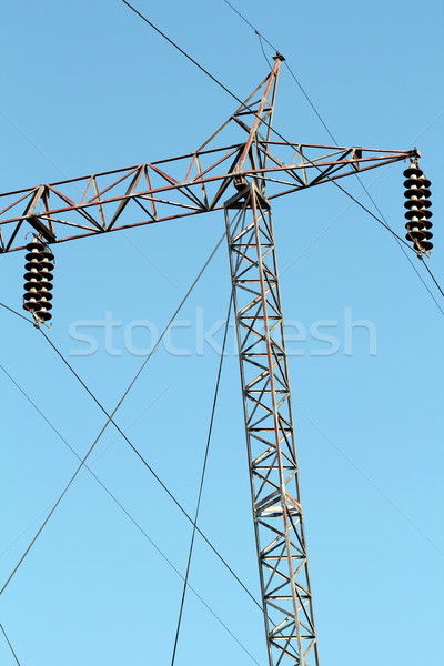 high voltage electric pylon and cables Stock photo © goce