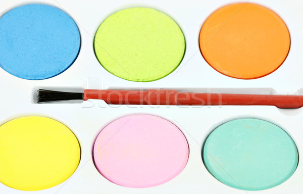watercolors paints and brush close up Stock photo © goce