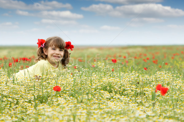 счастливым девочку Полевые цветы луговой весны сезон Сток-фото © goce