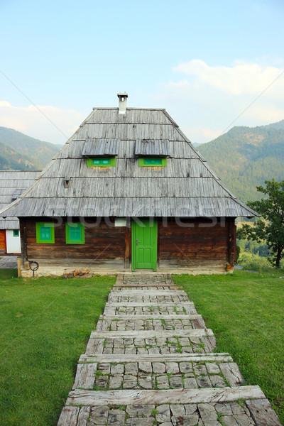 old wooden hut on mountain Stock photo © goce