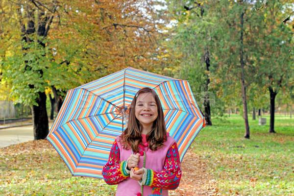 Heureux petite fille parapluie saison d'automne enfants forêt Photo stock © goce