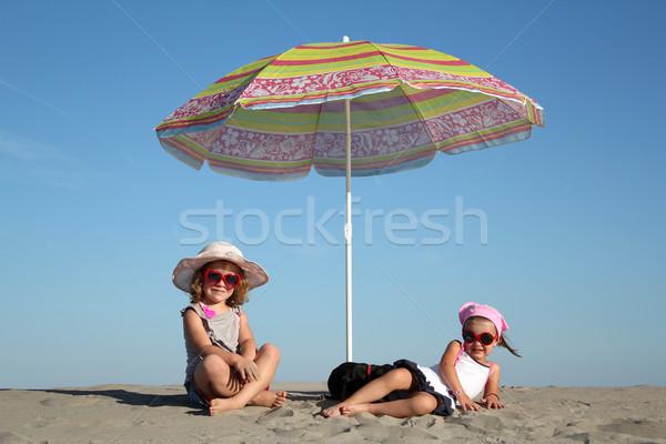 2 女の子 サンシェード 笑顔 子 青 ストックフォト © goce