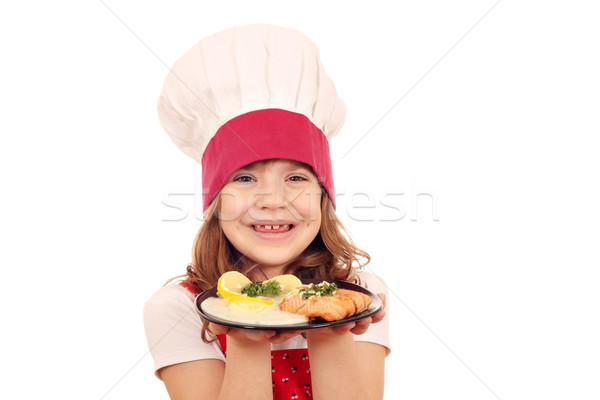 Foto stock: Feliz · nina · cocinar · salmón · peces · porción