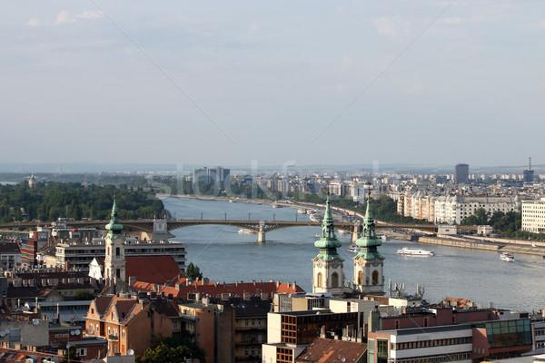 Híd Duna folyó Budapest égbolt város Stock fotó © goce