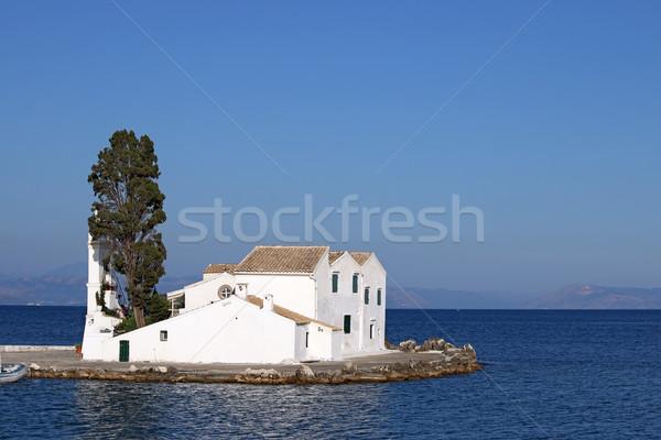 Kolostor tengeri kilátás tenger nyár kék fehér Stock fotó © goce