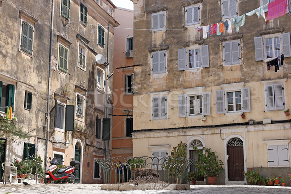 street and old buildings Corfu town Stock photo © goce
