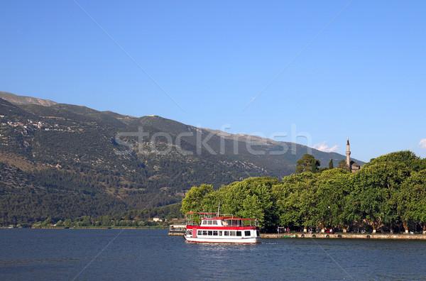 Város tó Görögország víz természet tájkép Stock fotó © goce