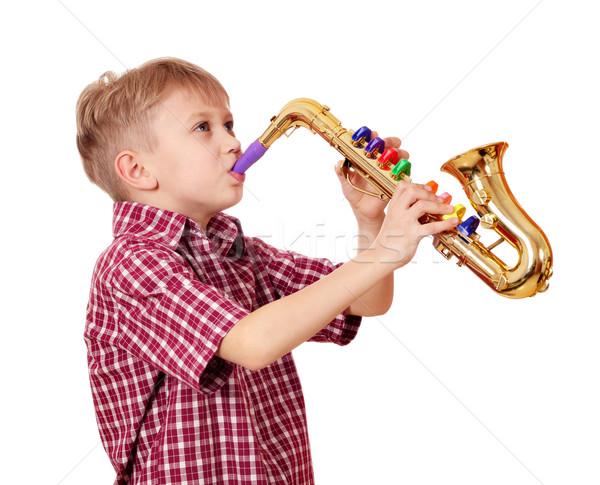 boy play saxophone Stock photo © goce