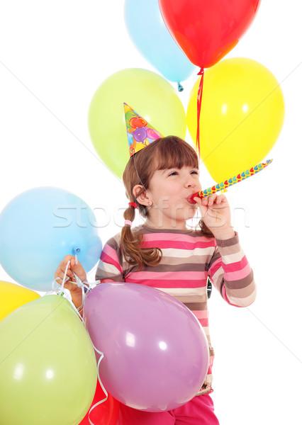 ストックフォト: 幸せ · 女の子 · トランペット · 帽子 · 風船 · 誕生日パーティー