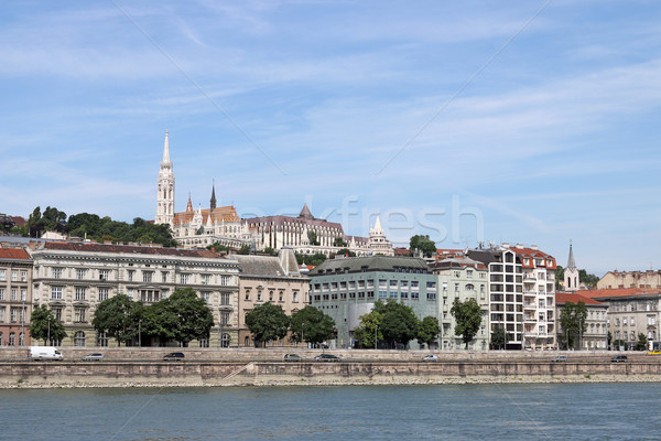 Fisherman bastion and Matthias church Danube riverside Budapest Stock photo © goce