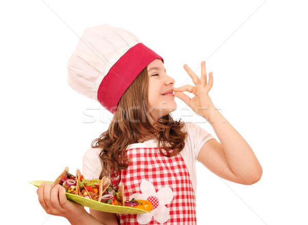 happy little girl cook with tacos and ok hand sign Stock photo © goce